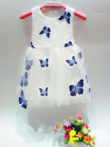 Vestido Importado De Nena Con Tull Y Mariposa Fiestas C1209