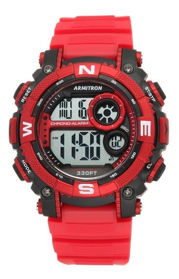 Reloj Deportivo Redondo Para Hombre Rojo 555130115