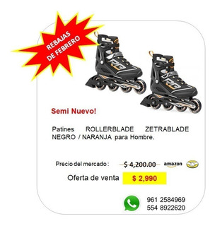 Patines Rollerblade Zetrablade Negro / Naranja Para Hombre.