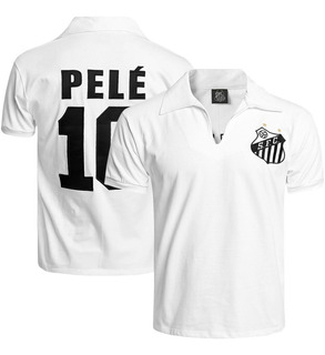 Camisa Retrô Pelé 1970 Santos Blusa Branca Oficial