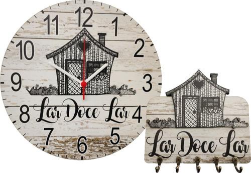 Kit Relógio E Porta Chaves Lar Doce Lar Casinha Patina