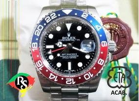Relógio Gmt Master Pepsi Azul Vermelho Safira + 50 Modelos