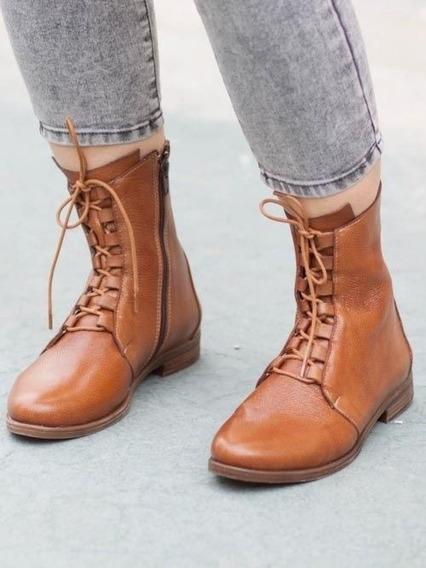 Mujer Botines De Tacón Bajo Zapatos De Plataforma De Cuero