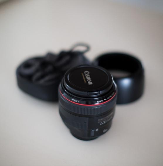 Lente Canon Ef 85mm F/1.2 Ii Usm Com Bolsa E Parasol