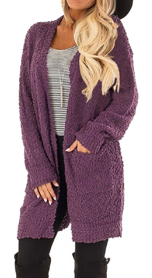 Mulheres Open Front Color Block Longo Cardigan Suéter Casaco