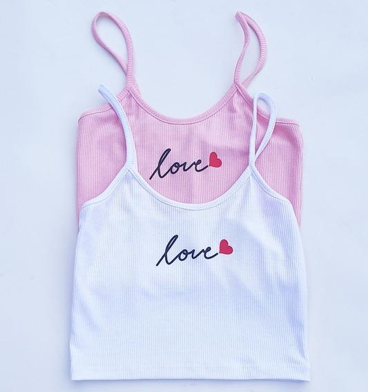 Top Rosa Morley Musculosa Love - Mundo Chulas