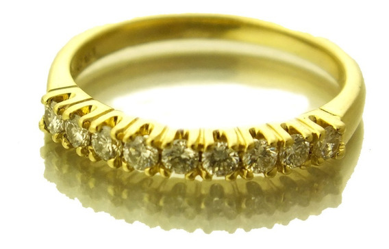 Anel Meia Aliança De Diamante 27pt Em Ouro 18k Aro 14 J22109