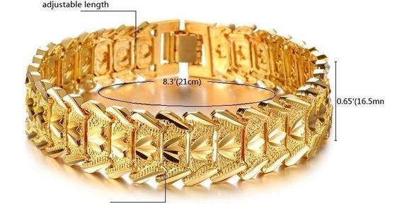 Pulseira Masculina Bracelete Grossa Banhada Ouro 18k.