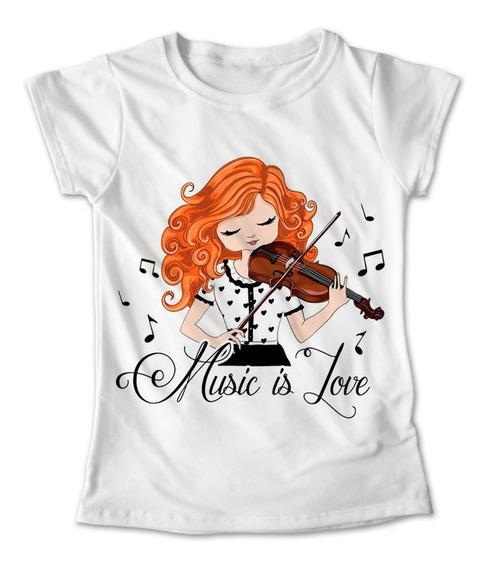 Blusa Chica Colores Playera Niña Violinista Violin #163