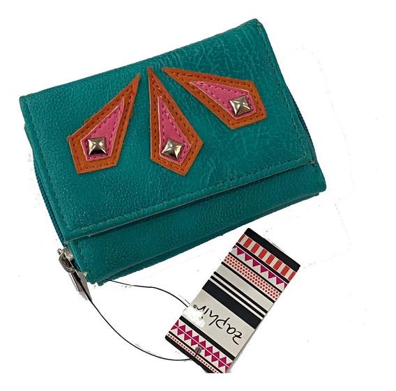 Billetera Ecocuero Zaphir Con Apliques. Diseño Hermoso 4996