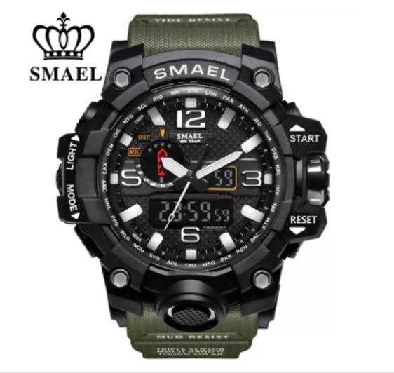Relógio Militar Smael Analógico Shock Modelo 1545 + Brinde