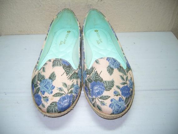 210 X - Sapatilha Floral Azul\bege N 36 Petite Jolie Belle