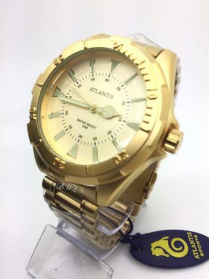 Relógio Atlantis Masculino A3482 Dourado Analógico