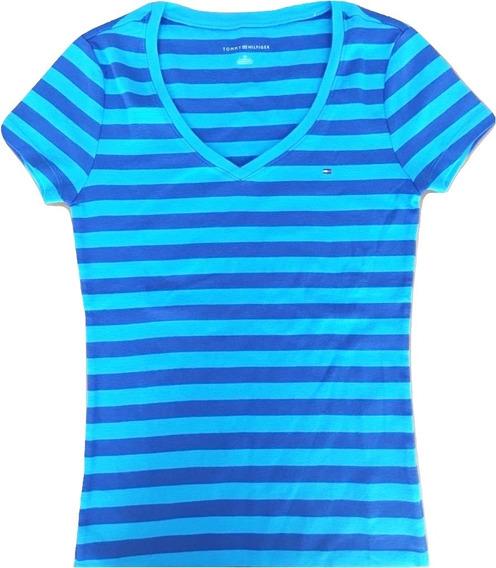 Camiseta Tommy Hilfiger Feminina Básica Listrada V Neck P