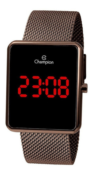 Relogio Champion Digital Ch40080r Chocolate Led Vermelho