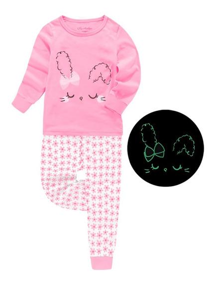 Pijama Niña Brilla En La Oscuridad Conejo Rosa
