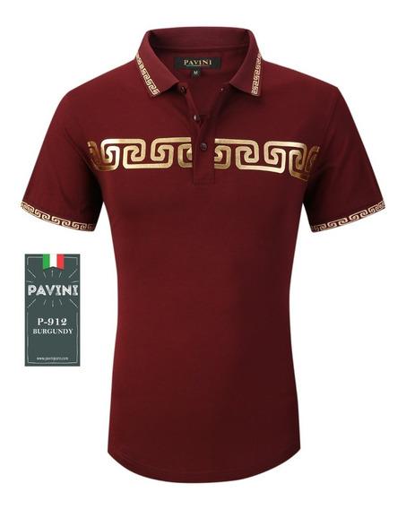 Playera Caballero Polo Marca Pavini Original P912 Vino Tinta
