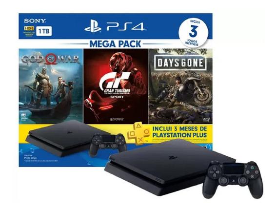 Console Sony Playstation 4 Hits Slim 1tb 3 Jogos Fisicos