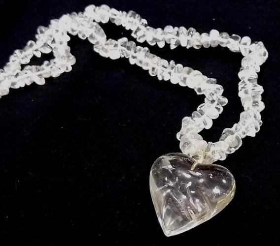 Maravilhoso Colar De Pedra Natural Cristal De Quartzo 29cm
