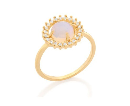 Anel Cristal Pedra Da Lua Com Zirconias Rommanel 512668