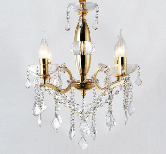 Lustre Pendente Candelabro Aurum Dourado 4 Lâmpadas G-light