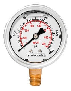 Manómetro Inox Alta Presión Glicerina 2.5 PLG, 10000 Psi