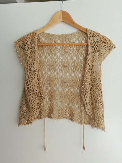 Saquito De Crochet Con Perlas Bordadas