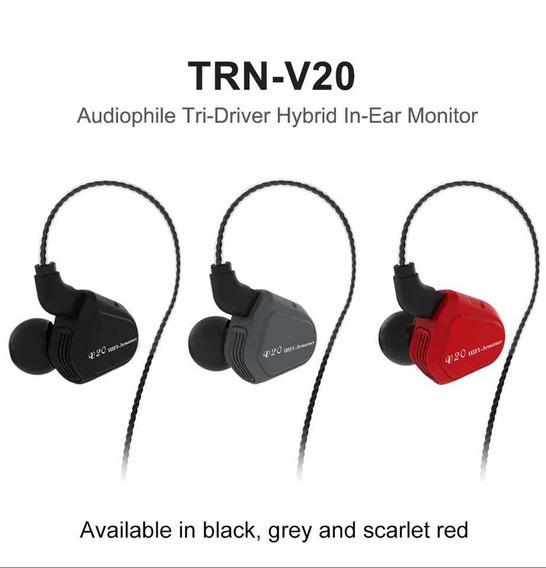Fone In-ear Trn V20 Dual Drive Híbrido Retorno Palco Monitor
