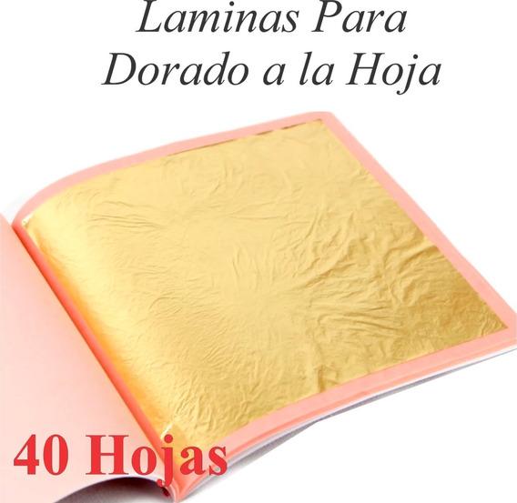 40 Laminas Dorado A La Hoja Color Oro Foil Marcos Muebles