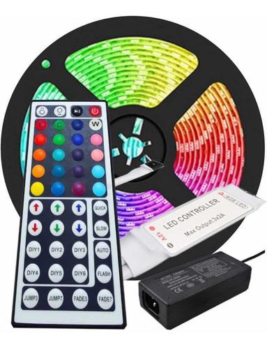 Cinta Led 5050 Rgb Multicolor Con Adaptador Y Control