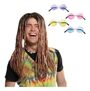 Disfraz Hippie Hombre Castaño Peluca Pelo Halloween Fiesta