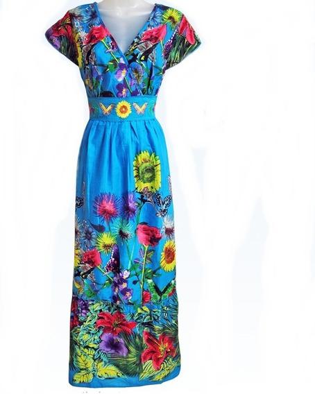 Vestido Longo Tecido Algodão Floral Renda E Bordado Promoção