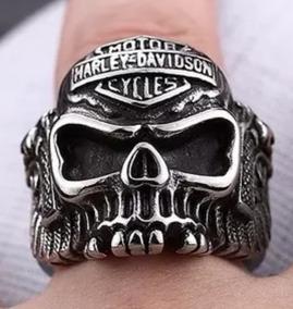 Anel Aço Inox 316l Caveira Harley Davidson Masculino A183