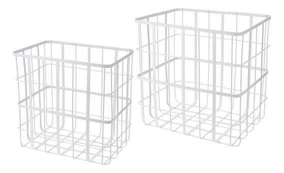 Set X 2 Canasto Organizador Contenedor Metal Blanco 35/38 Cm