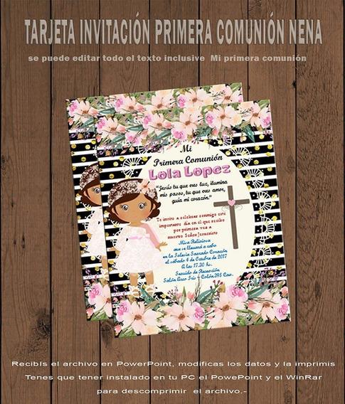 Tarjeta Invitación Editable Primera Comunión Nena 09