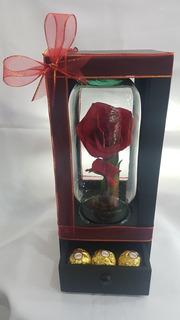 Rosa Eterna En Madera Y Cristal