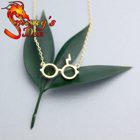 Colar Óculos Harry Potter Banhado A Ouro 18k