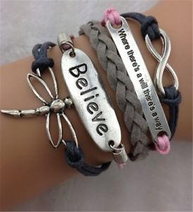 Pulseira Feminina Bracelete Couro Believe Borboleta Fashion