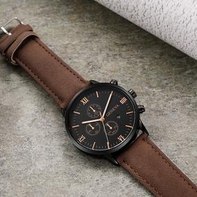 Relógio Luxo Masculino Geneva Pulso Social Pulseira Marron