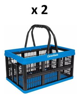 Canasta Supermercado Plegable Clevermade 10kg/16 Lt [2 Pz]