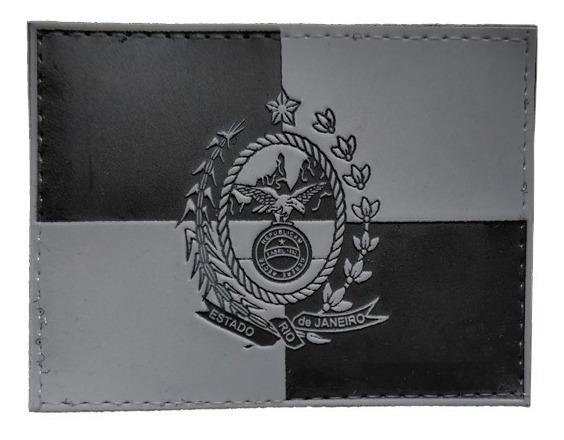 Bandeira Rj Patch Emborrachado Preto E Cinza Com Fixação
