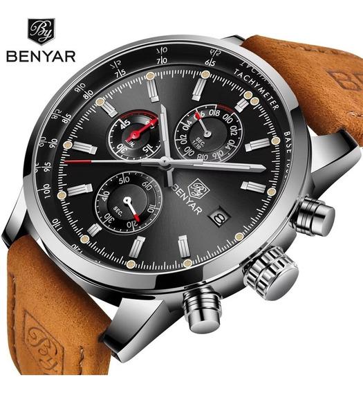 Relógio Masculino Benyar 5102 Original Pulseira De Couro