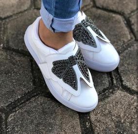Tenis Feminino Branco Velcro Bordado Pedraria Prata