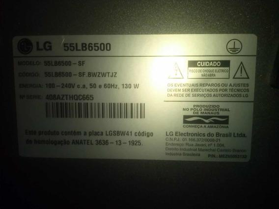 Tv LG Modelo 55 Lb 6500 Tela Danificada, Vendo As Placas