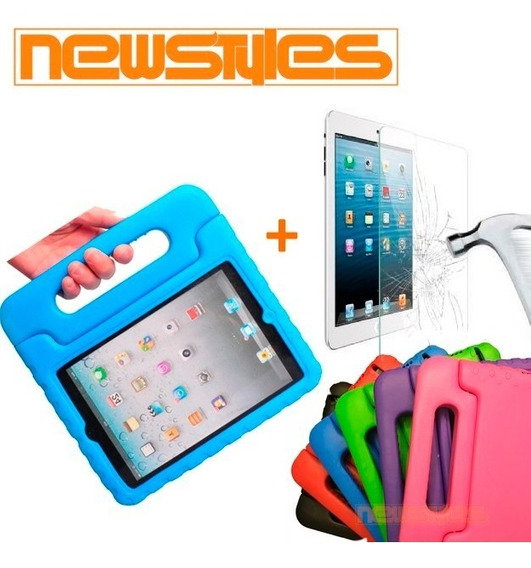 Capa + Película Vidro Criança Infantil iPad Mini 1 2 3 4