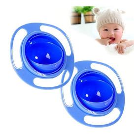 Prato Mágico Infantil 360 Gyro Bowl Não Derrama Rosa E Azul