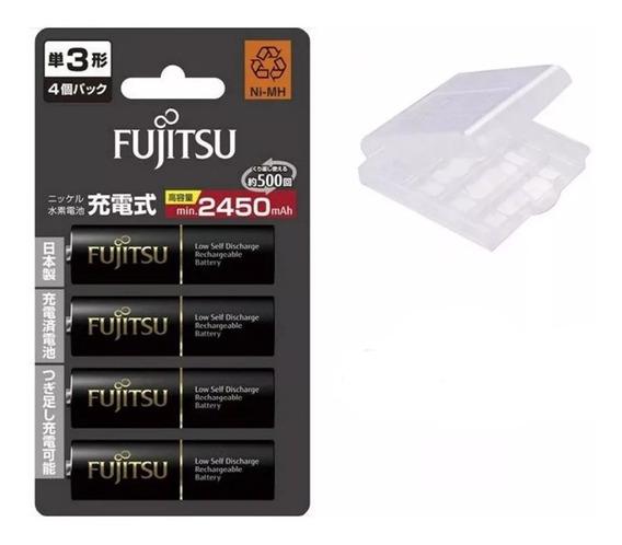 4 Pilhas Aa Recarregáveis Fujitsu 2550mah Eneloop Pro 500x