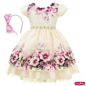 Vestido Infantil Creme Luxo Jardim Encantado Daminha Tiara
