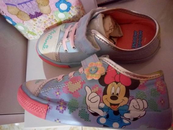 Tênis Minie Mouse De Velcro Azul E Rosa : 27- Cód.44009