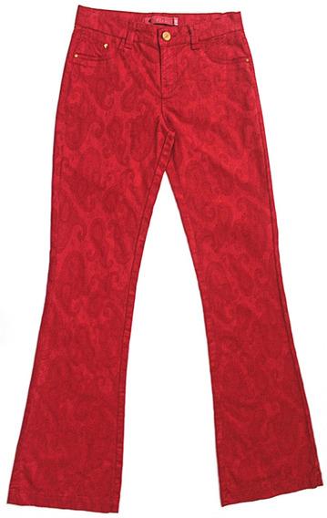 Calça Jeans Feminina Cintura Alta Flare Vermelho Tamanho 40